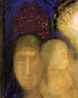 Redon.  Woman and child against a stained glass background